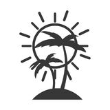 Arbre Palm Beach avec le soleil Illustration de Vecteur