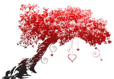 Arbre rouge de coeur d'amour de silhouette Photos stock