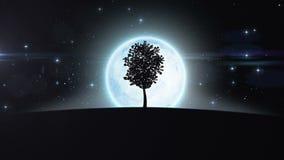 Arbre s'élevant sous l'augmentation de nouvelle lune HD 1080 illustration de vecteur