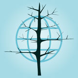 Arbre sans feuilles sur un fond du globe Images stock