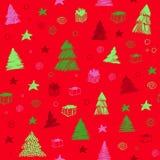 arbre sans joint de configuration de Noël Croquis tiré par la main de graphique couleur de vecteur Fond mignon de griffonnage images libres de droits