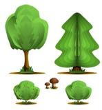 Arbre, sapin, arbuste, champignon de couche - centrales réglées de forêt Illustration Libre de Droits