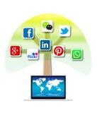 Arbre social mobile de media Images stock