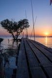 Arbre sous forme de coeur avec le pont en bois sur la mer au crépuscule dans Bangpu, en Thaïlande Images libres de droits