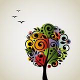 Arbre stylisé coloré de vecteur Photos libres de droits