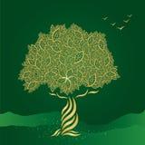 Arbre stylisé d'or sur le fond vert illustration libre de droits