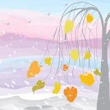 Arbre sur le fond de coucher du soleil avec des chutes de neige et des oiseaux Image stock