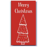 Arbre tiré par la main de carte de Noël Image libre de droits