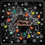 Arbre tiré par la main de fourrure de Noël pour la conception de Noël Photos libres de droits