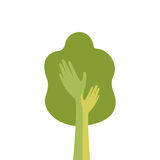 Arbre vert avec la main Logo Icon Flat Photos stock