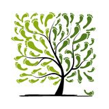 Arbre vert d'empreinte de pas pour votre conception Image libre de droits