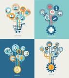Arbres abstraits avec des icônes pour le web design Images stock