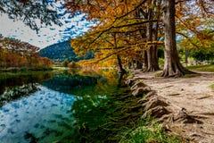 Arbres avec le feuillage d'automne rayant la rivière de Frio chez Garner State Park photographie stock