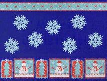Arbres, bonhomme de neige et flocons de neige de Noël Images libres de droits
