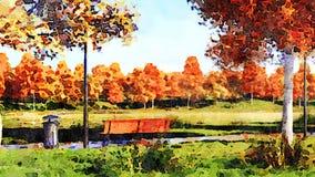 Arbres colorés d'automne dans le paysage d'aquarelle de parc banque de vidéos