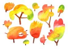 Arbres d'automne d'aquarelle d'isolement sur le fond blanc photos stock
