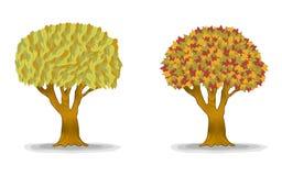 Arbres d'automne avec des lames de groupe illustration stock