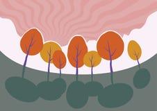 Arbres d'automne en parc. Paysage de bande dessinée de vecteur. Photos libres de droits