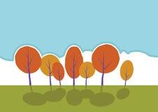Arbres d'automne en parc. Paysage de bande dessinée de vecteur. Photos stock