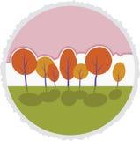 Arbres d'automne en parc. Paysage de bande dessinée de vecteur. Photo libre de droits
