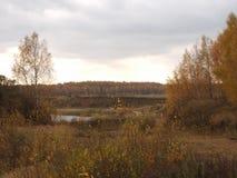 Arbres d'automne sur le rivage d'un lac de forêt contre un ciel orageux Images libres de droits