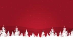 Arbres d'hiver sur le fond rouge illustration stock