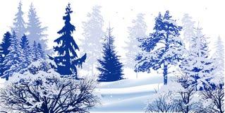 Arbres dans l'illustration bleue d'hiver de neige image libre de droits