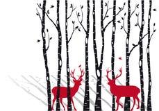 Arbres de bouleau avec des deers de Noël, vecteur Image libre de droits
