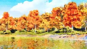 Arbres de chute reflétés dans le paysage d'aquarelle de l'eau banque de vidéos