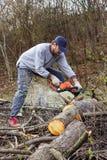 Arbres de coupe de jeune homme utilisant une tronçonneuse électrique Photos libres de droits