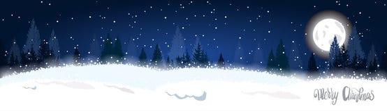 Arbres de Forest Landscape Horizontal Banner Fir d'hiver de Noël au-dessus de lune et d'étoiles à l'arrière-plan de ciel Photo stock