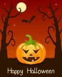 Arbres de Halloween avec le potiron sur l'orange Image stock