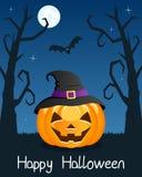 Arbres de Halloween avec le potiron sur le bleu Photo stock