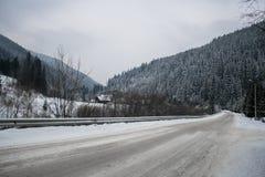 Arbres de Milou de route neigeuse et de forêt d'hiver wallpaper image stock