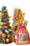 Arbres de Noël artificiels décorés de Photographie stock