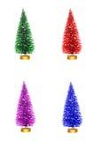 Arbres de Noël colorés d'isolement sur le blanc Photos libres de droits