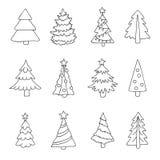 Arbres de Noël d'icônes de Noël Images stock
