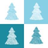 Arbres de Noël dans des couleurs bleues et blanches illustration libre de droits