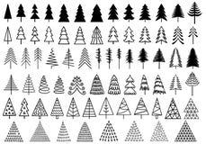 72 arbres de Noël, ensemble de vecteur Photo libre de droits