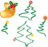 Arbres de Noël et chaussette de Noël, vecteur Photo stock