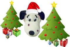 Arbres de Noël et un chiot de Santa Photographie stock