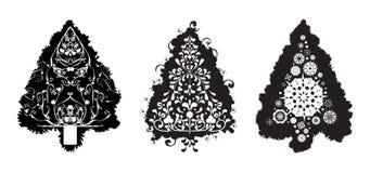 Arbres de Noël grunges de vecteur illustration stock