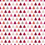 Arbres de Noël sans couture de modèle avec le beige orange rouge-rose d'étoiles illustration stock