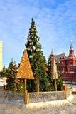 Arbres de Noël sur la place de Manege Moscou, Russie photos libres de droits