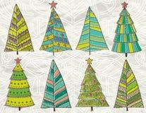 Arbres de Noël sur le fond de beije Image stock