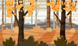 Arbres de paysage d'automne et feuilles de chute, illustration de vecteur, style de bande dessinée, d'isolement illustration libre de droits
