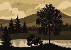 Arbres de paysage, rivière et silhouette d'oiseaux Photographie stock libre de droits