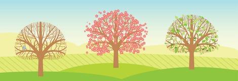 Arbres de ressort avec des feuilles et des fleurs. Vecteur illustration libre de droits