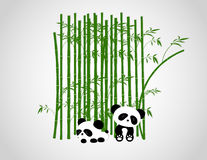 Arbres drôles de Panda Playing In The Bamboo illustration de vecteur