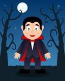 Arbres effrayants de Halloween avec Dracula Photo stock